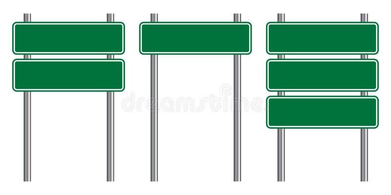 Leerer VerkehrsVerkehrsschildsatz, leere Straßenschilder, Grünes lokalisiert auf weißem Hintergrund, Vektorillustration stock abbildung