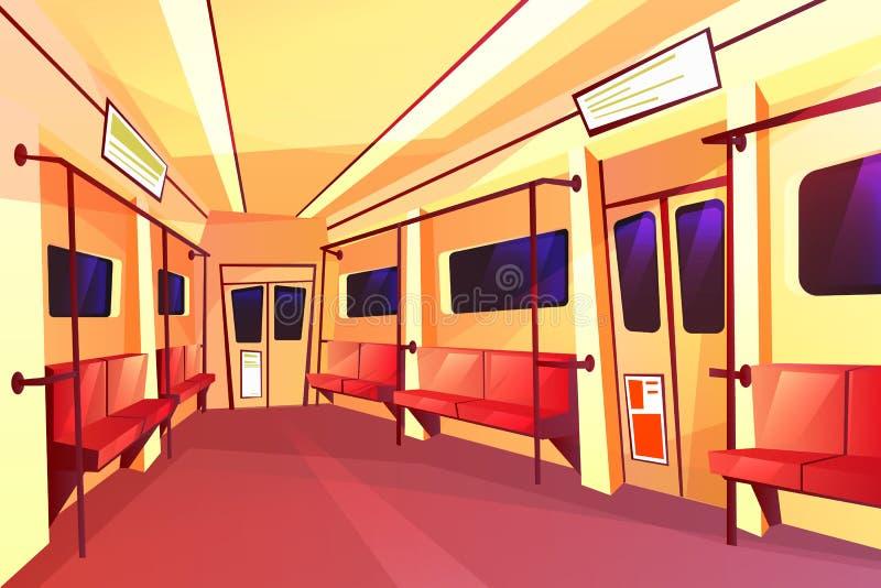 Leerer Wagen der VektorUntergrundbahn innerhalb des Innenraums lizenzfreie abbildung