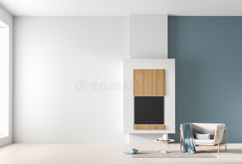 Leerer Wandspott oben im skandinavischen Innenraum mit Kamin Unbedeutende Innenarchitektur Abbildung 3D lizenzfreies stockfoto