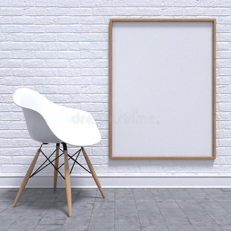 Leerer weißer Fotorahmen mit Stuhl Modell übertragen lizenzfreie abbildung
