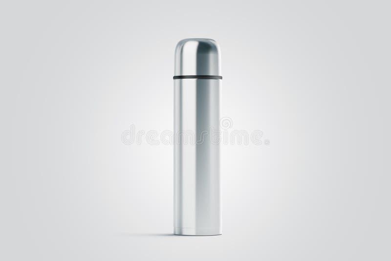 Leerer weißer geschlossener Reisethermosflaschespott oben, stockfotografie