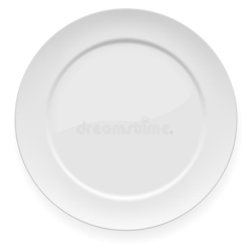 Leerer weißer großer Teller lizenzfreie abbildung