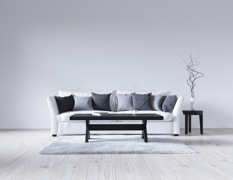 Download Leerer Weißer Innenraum Der Illustration 3d Mit Sofa, Leere Wand,  Unbedeutende Wohnzimmer