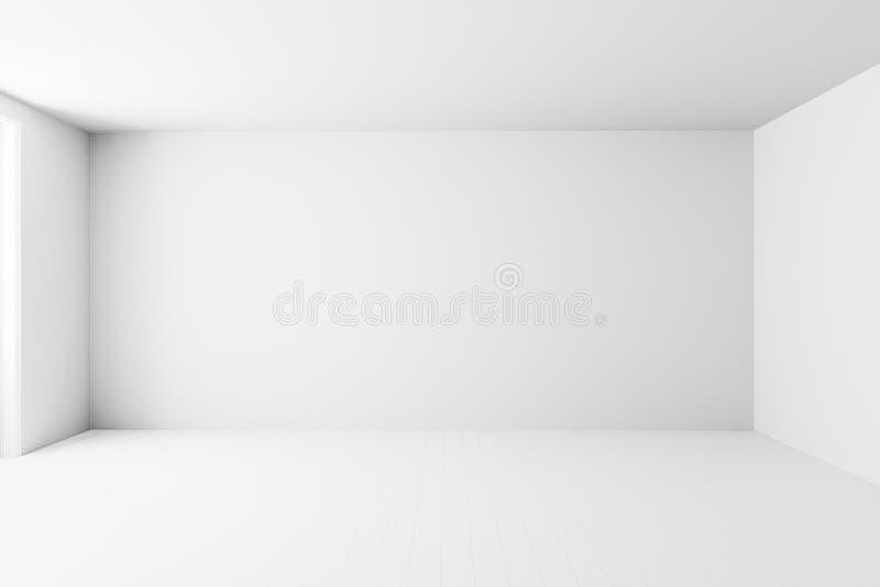 Leerer weißer Innenraumhintergrund, leere weiße Wandecke und weißer Holzfußbodenzeitgenosse, Wiedergabe 3D lizenzfreie abbildung