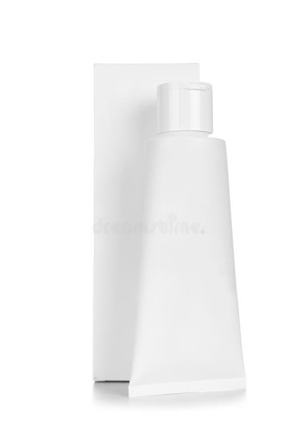 Leerer weißer kosmetischer Rohrsatz der Creme oder des Gels lizenzfreies stockbild