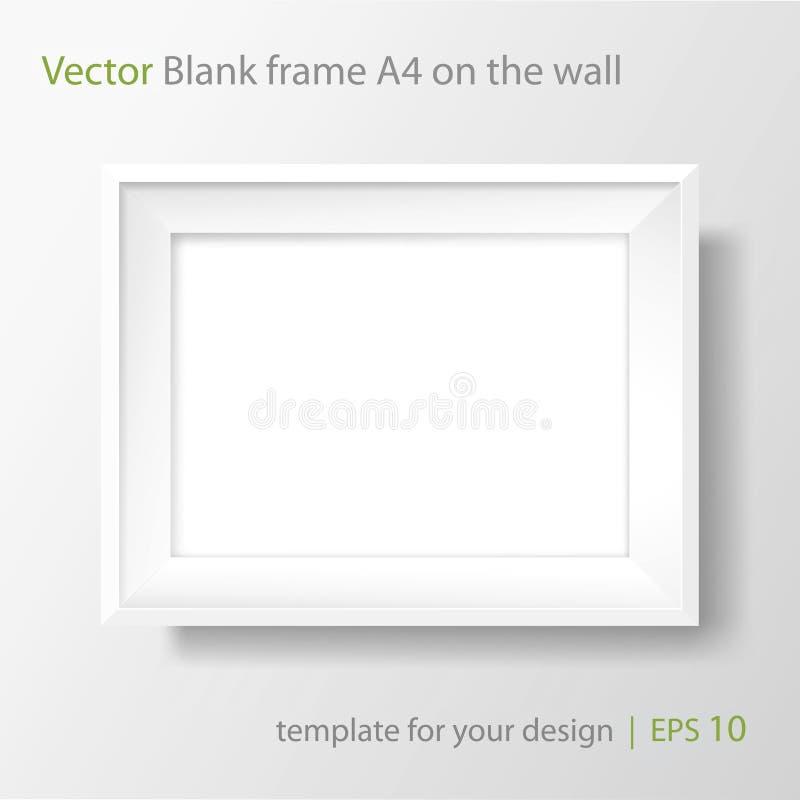 Leerer weißer Rahmen A4 auf weißer Wand Rand der Farbband-, Lorbeer- und Eichenblätter vektor abbildung