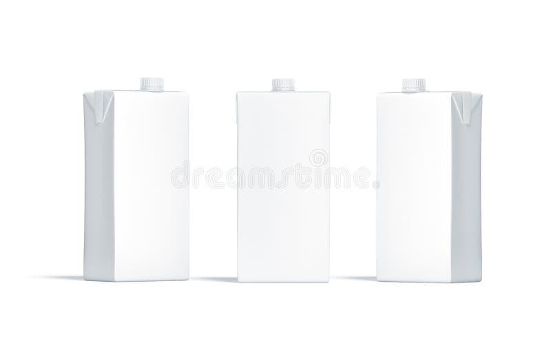 Leerer weißer Saftsatz mit Deckelmodellsatz stock abbildung