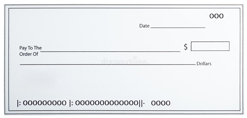 Leerer weißer Scheck lizenzfreies stockbild