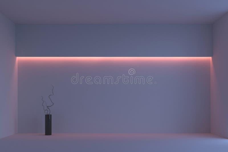 Leerer weißer unbedeutender Raum mit rosa Hintergrundbeleuchtung Wiedergabe 3d stockfoto