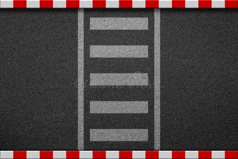 Leerer Zebrastreifen auf Asphaltstraße mit rotem und weißem Zeichen auf sidew lizenzfreies stockfoto