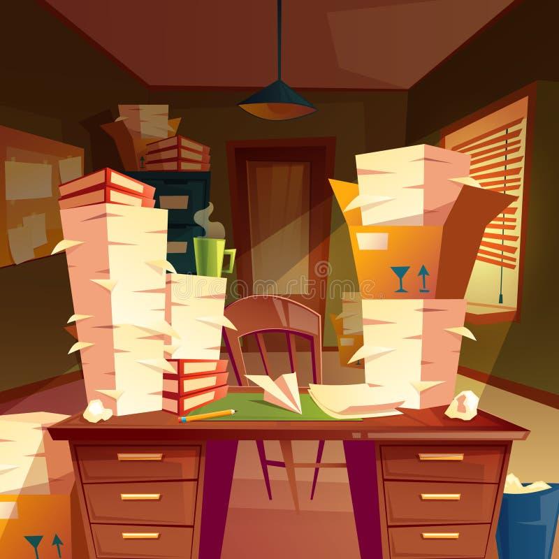 leeres Büro mit Stapel des Papiers, Schreibarbeit vektor abbildung