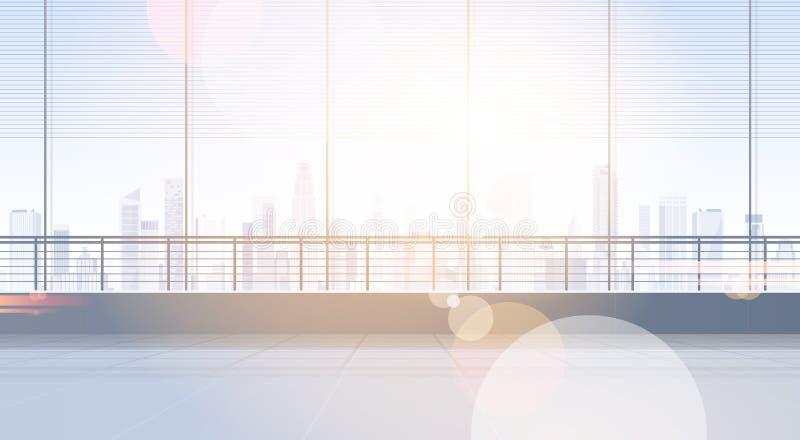 Leeres Büro-Raum-Studio, das Real Estate-Innenfenster mit modernem Stadt-Landschaftskopien-Raum errichtet lizenzfreie abbildung