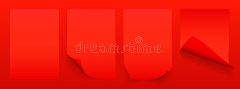 Leeres Blatt A4 des roten Papiers mit gekr?uselter Ecke und des Schattens, Schablone f?r Ihren Entwurf set Auch im corel abgehobe vektor abbildung