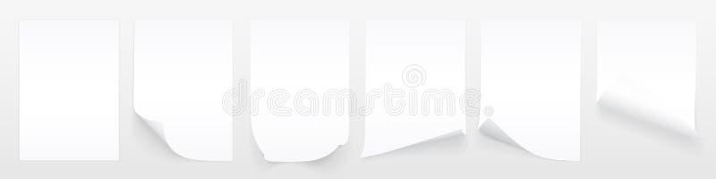 Leeres Blatt A4 des Wei?buches mit gekr?uselter Ecke und des Schattens, Schablone f?r Ihr Design set Auch im corel abgehobenen Be vektor abbildung
