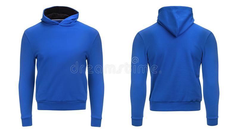 Leeres blaues Hoodiesweatshirt mit Beschneidungspfad, dem Pullover der Männer für Ihr Designmodell und Schablone für Druck, weiße stockfoto