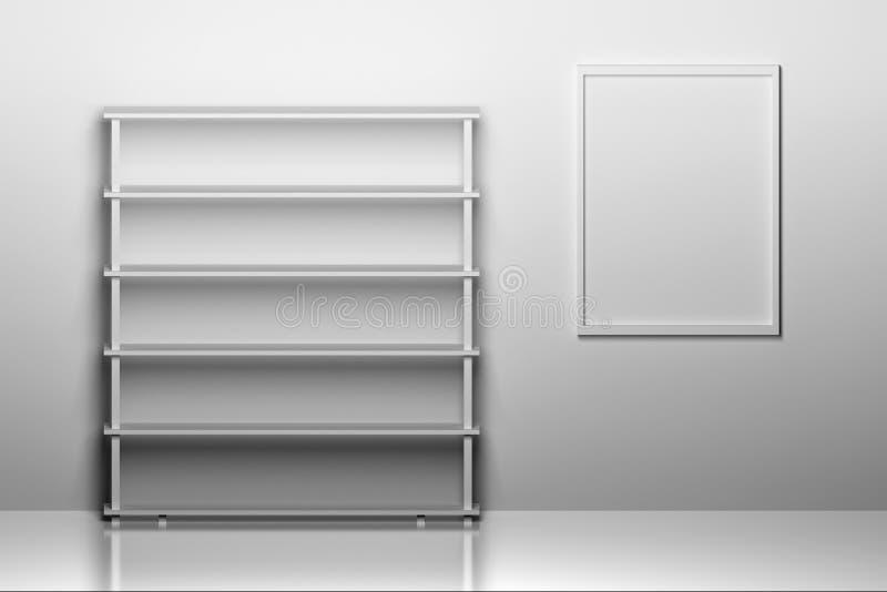 Leeres Buchregal mit einem Rahmen für Bild vektor abbildung