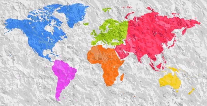 Leeres buntes Schattenbild des Vektors ähnliche Weltkarte Einfarbige Worldmap-Schablone, Websitedesign, Jahresberichte, infograph lizenzfreie abbildung