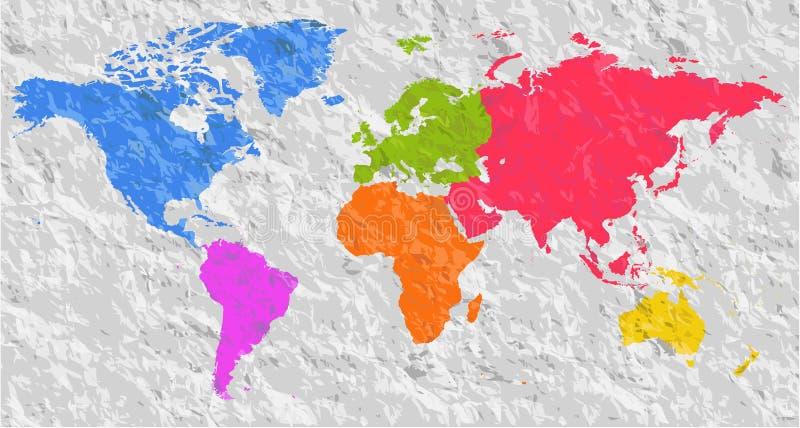 Leeres buntes Schattenbild des Vektors ähnliche Weltkarte Einfarbiges W stock abbildung