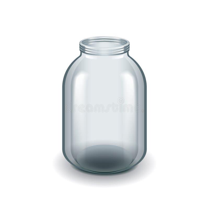 Leeres Dreiliter-Glasgefäß lokalisiert auf weißem Vektor stock abbildung