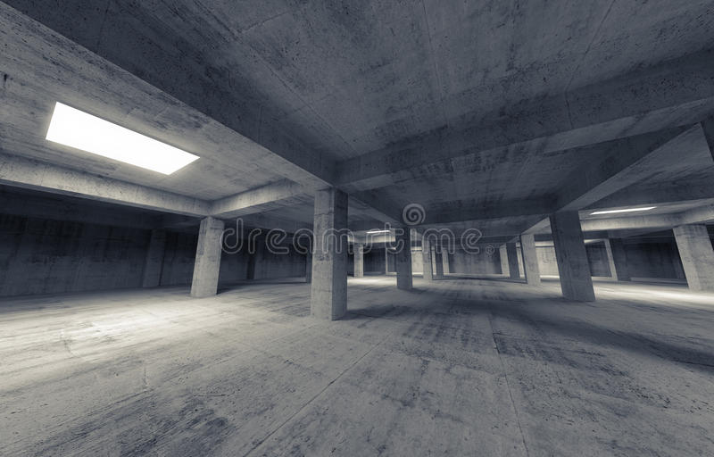 Leeres dunkles Parkkonkreter Innenraum Abbildung 3D stock abbildung