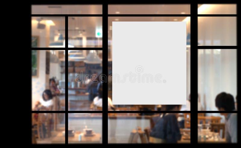 Leeres Förderungsplakat auf Glasfenster lizenzfreies stockbild