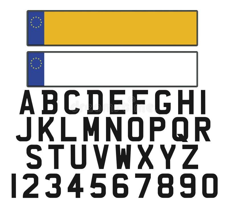 Leeres Fahrzeugamtliches kennzeichen mit Satz von Ziffern und von Buchstaben lizenzfreie abbildung