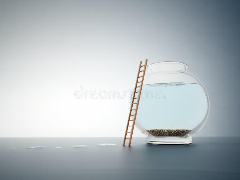 Leeres fishbowl mit einer Strichleiter stockbilder