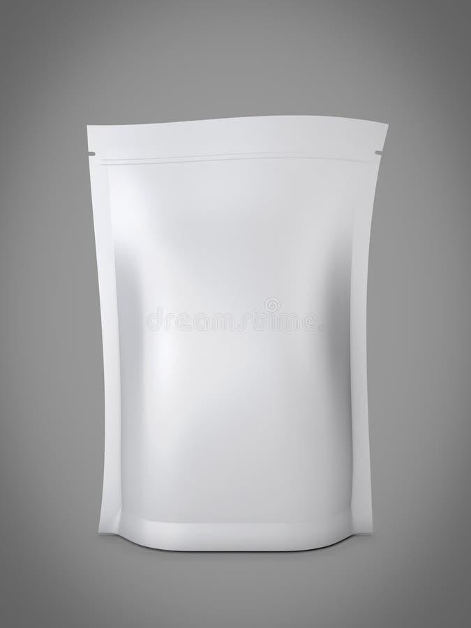Leeres Folienlebensmittel oder Getränktaschenverpackung mit Ventil und Dichtung stock abbildung