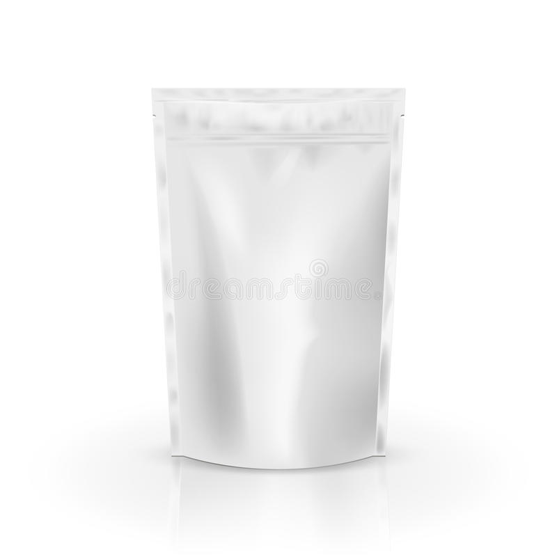 Leeres Folienlebensmittel oder Getränktaschenverpackung mit Ventil und Dichtung Leere Folienplastikbeutel-Kaffeetasche Verpackung stock abbildung