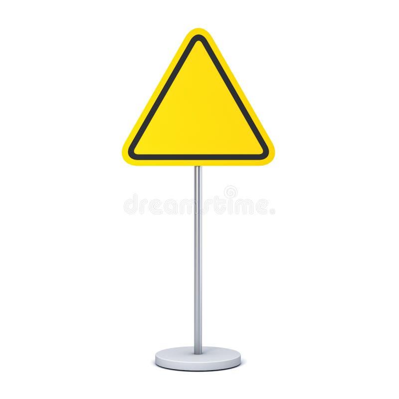 Leeres gelbes Dreieckzeichen mit Pfostenstandspott herauf das Informationen Signagebrett lokalisiert auf weißem Hintergrund stock abbildung