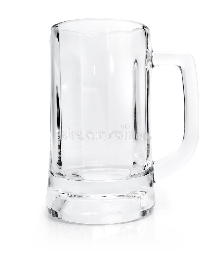 Leeres Glas für das Bier getrennt auf Weiß stockbilder
