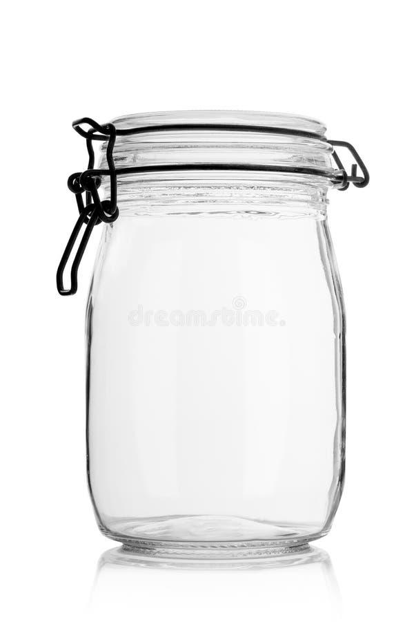 Leeres Glasglas mit Kappe Für Lagerung lizenzfreie stockbilder