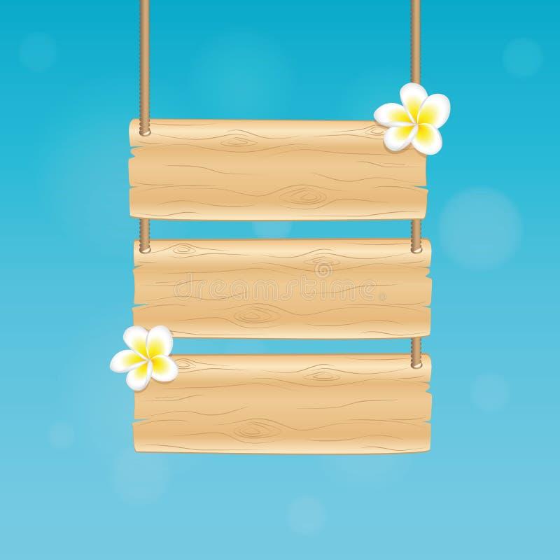 Leeres hängendes Holzschild mit tropischen Blumen des Frangipani auf blauem Hintergrund stock abbildung