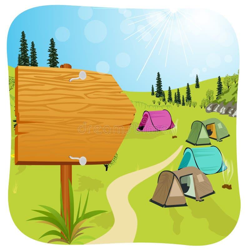 Leeres hölzernes Brett, das nahen Campingplatz steht lizenzfreie abbildung