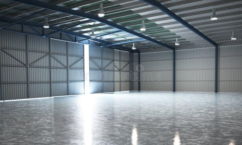 Leeres Hangarlieferungslager 3d übertragen Bild lizenzfreie abbildung