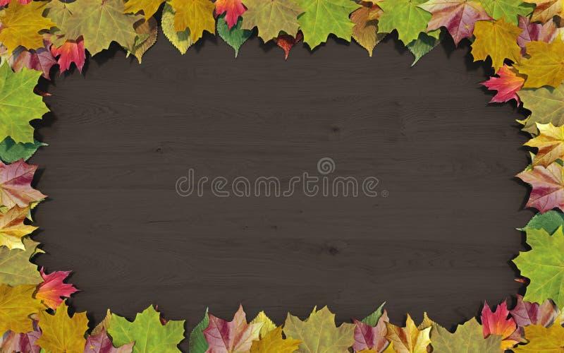 Leeres horizontales Plakat des hölzernen Brettes mit dem Rahmen gemacht von den Blättern, Konzept des Fallherbstverkaufs oder zur stock abbildung