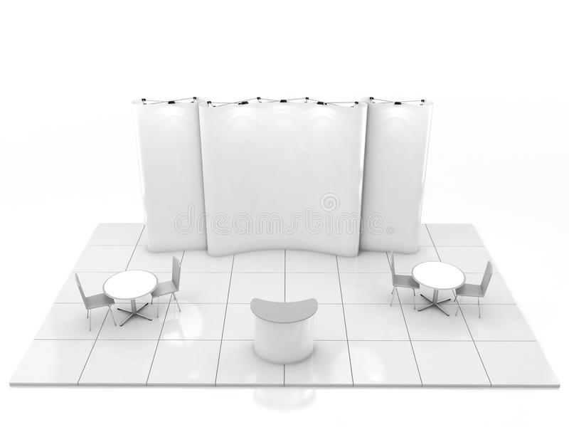 Leeres kreatives Ausstellungsstanddesign mit Farbe formt Standschablone 3d übertragen stockbild