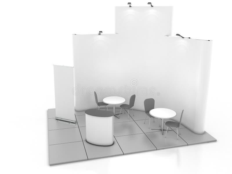 Leeres kreatives Ausstellungsstanddesign mit Farbe formt Standschablone 01 3d übertragen stock abbildung