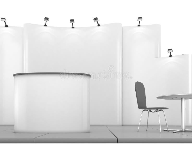 Leeres kreatives Ausstellungsstanddesign mit Farbe formt Standschablone 01 3d übertragen vektor abbildung