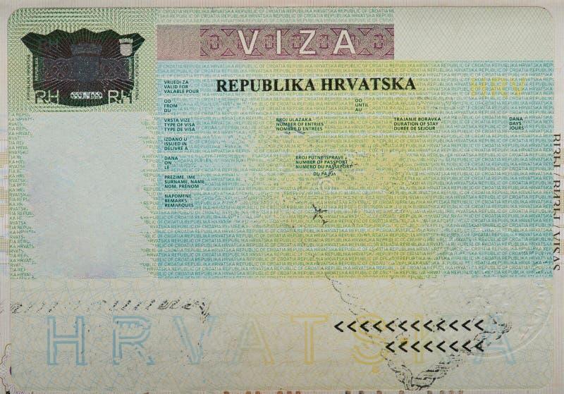 Leeres leeres kroatisches Visum stockfotos