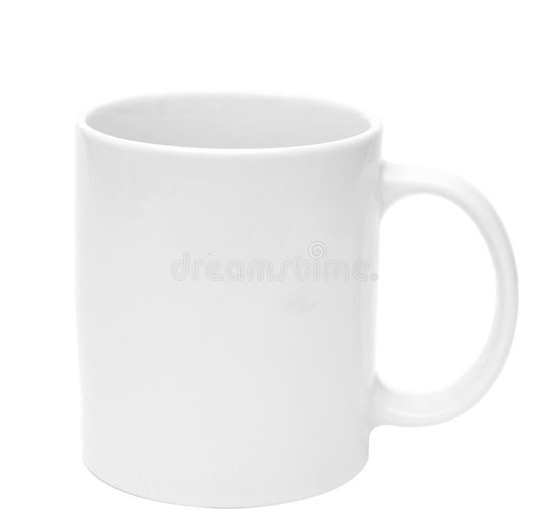 Leeres Leerzeichen des weißen Bechers für Kaffee oder Tee lizenzfreie stockfotos