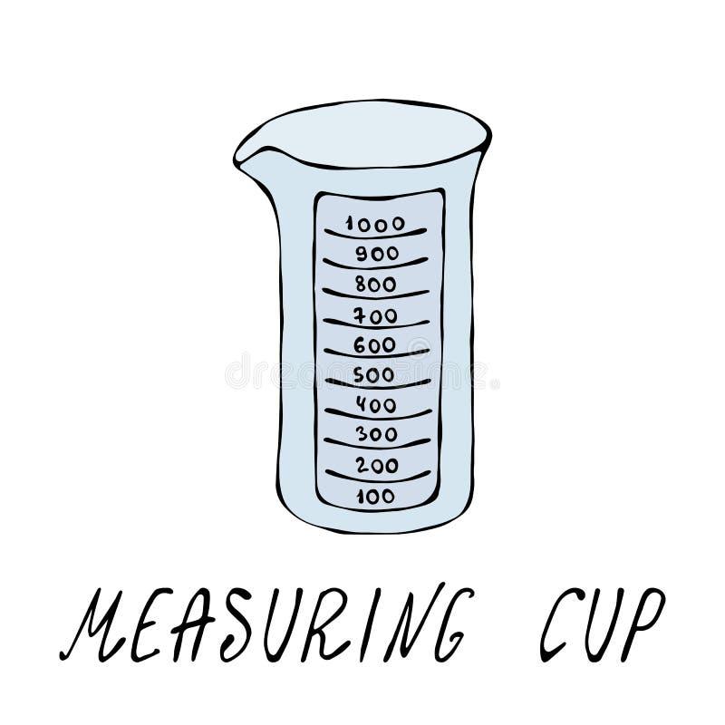 Leeres messendes Cup Küche bearbeitet Sammlung Vektor Eps10 Handgezogenes Gekritzel reden realistische Illustration an stock abbildung