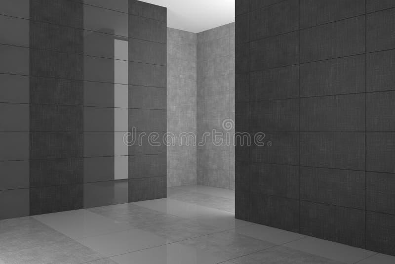 Leeres modernes Badezimmer mit grauen Fliesen lizenzfreie abbildung