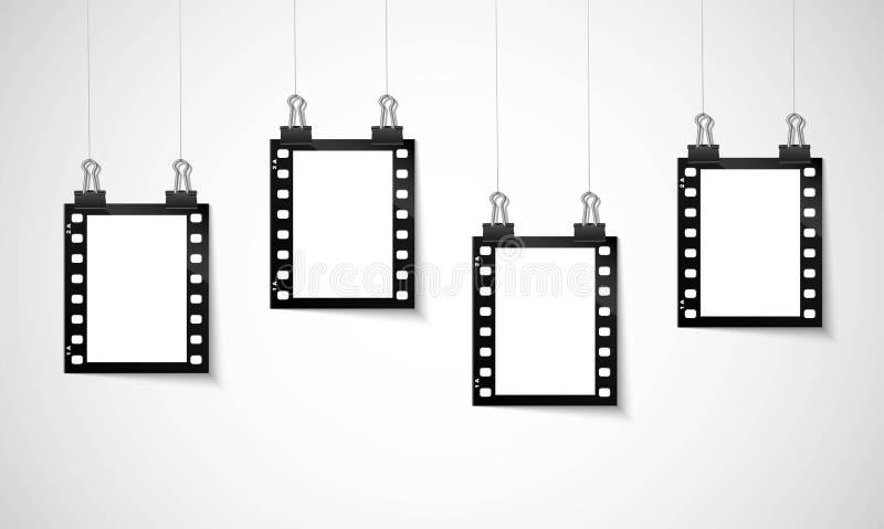 Leeres negativ Film, das an einer Linie hängt vektor abbildung