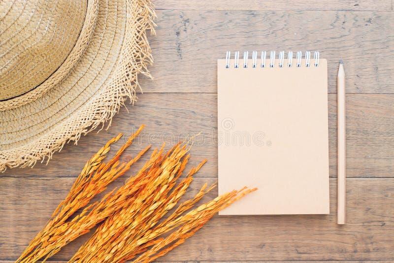 Leeres Notizbuch mit Strohhut und Trockenblume auf hölzernem Hintergrund, Draufsichtherbst lizenzfreies stockbild