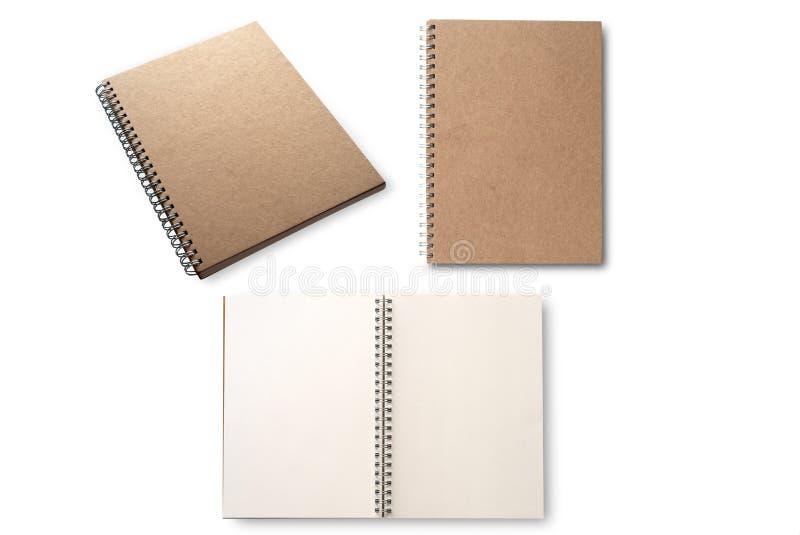Leeres Notizbuch ohne Linien, Schulnotizbuch oder Brown-Spiralennotizbuch, zeichnen lokalisiert auf weißem Hintergrund Zur?ck zu  stockbild