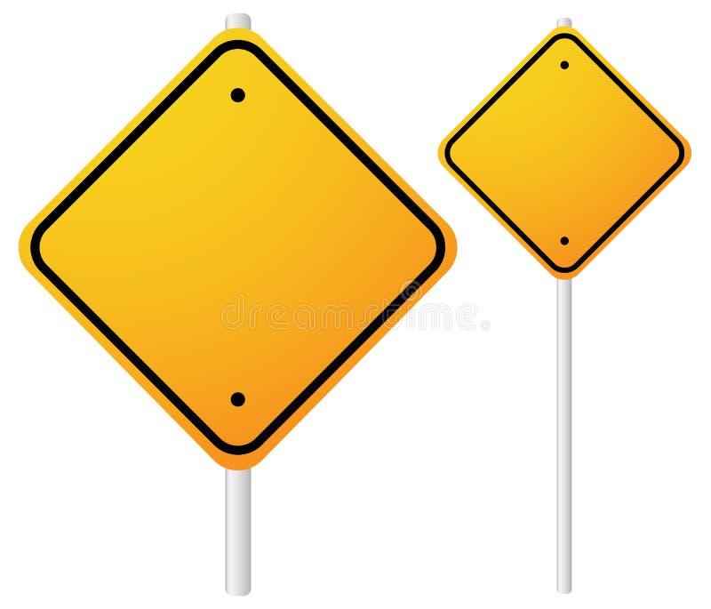 Leeres orange Roadsigns mit leerem Raum auf Metallpfosten Kleiner, vektor abbildung