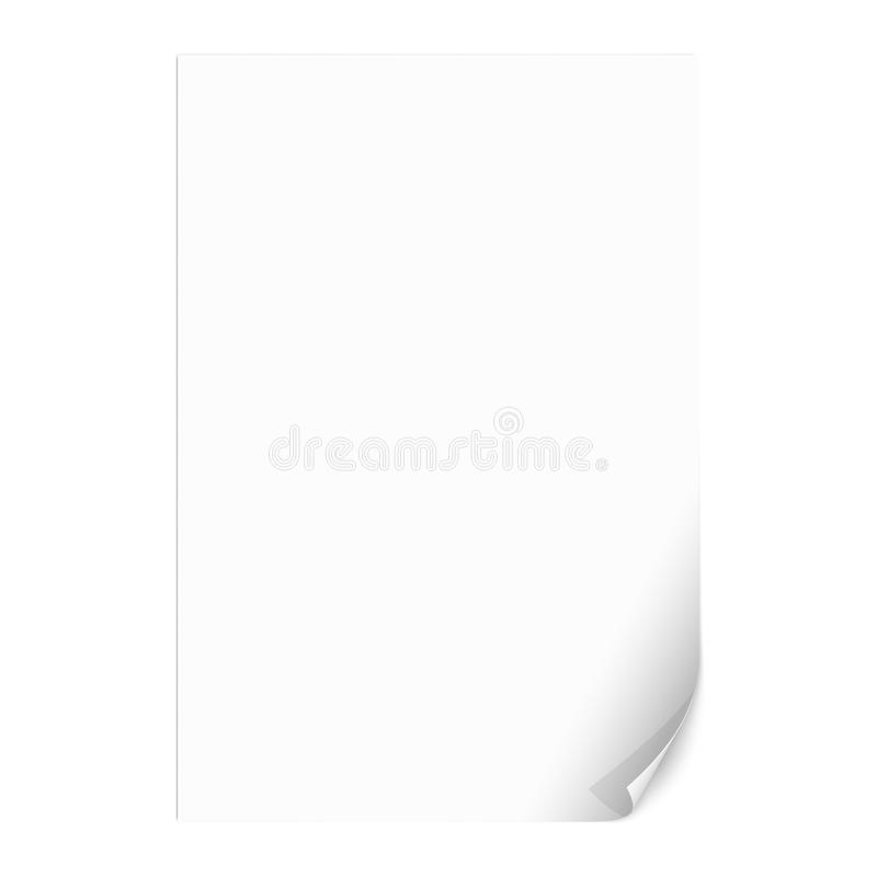 Leeres Papierblatt mit gekräuselter Ecke Vektor stock abbildung