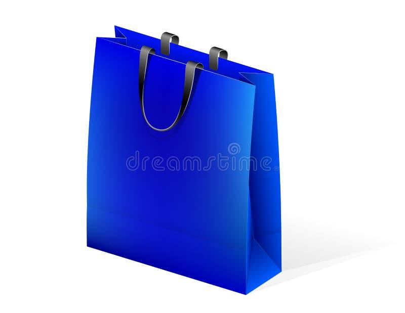 Leeres Papierpaket für verpackende Waren und Einkauf im Speicher Griffe einer anderen Farbe Platz für Text oder Logo stock abbildung