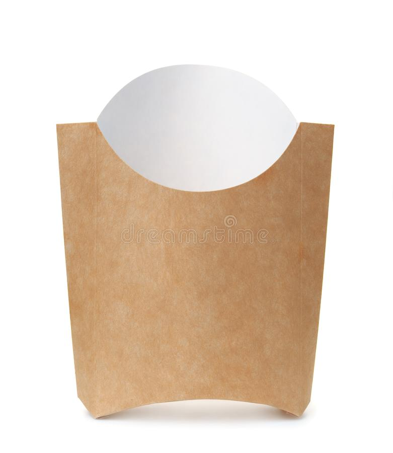 Leeres Papierpommes-fritesverpacken stockfoto